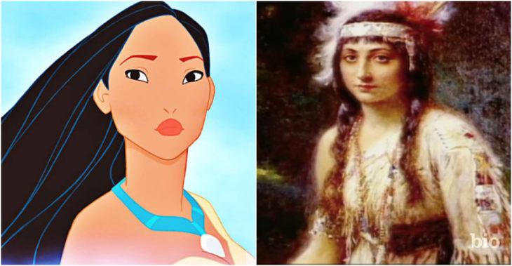 Pocahontas personaje ficticio inspirado en Pocahontas de la vida real