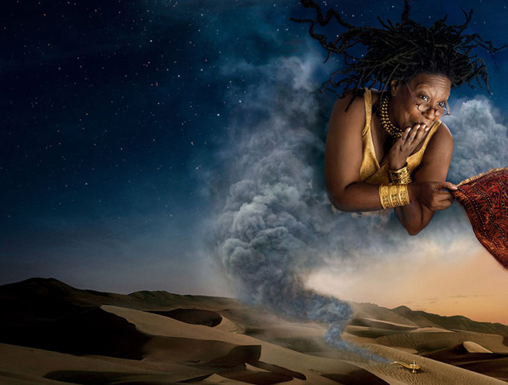 Whoopi Goldberg como el genio de Aladdin