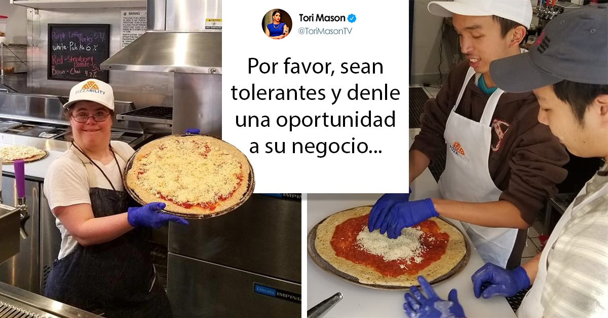 Mujer pide ayuda para trabajadores con necesidades especiales de una pizzería