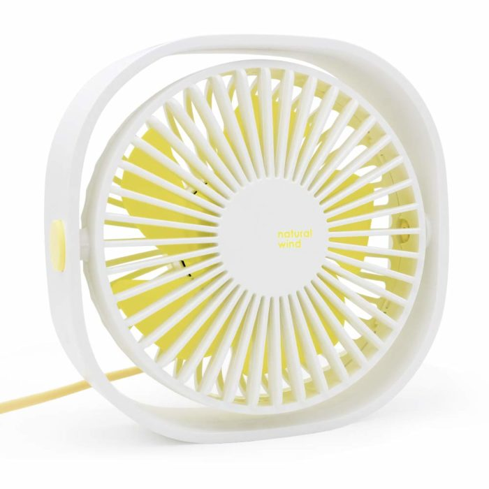 Mini ventilador de escritorio en color blanco con amarillo