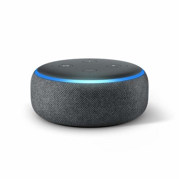 Bocina inalámbrica en color gris con Alexa