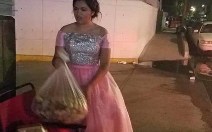 Karime Hernández, quinceañera que en septiembre de 2018 repartió comida a familiares de pacientes internados en el IMSS de Matamoros