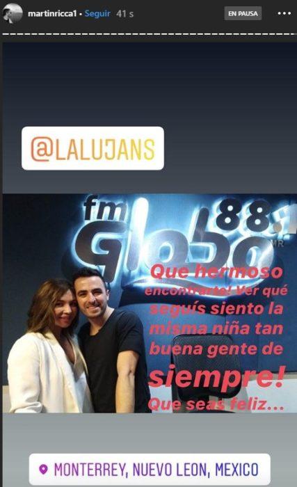 Historia del Instagram de Martin rica en la que se le ve junto a Daniela Lujan en un programa de radio