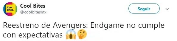 Tuit sobre el reestreno de Avengers Endgame