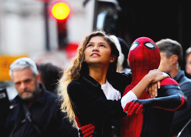 Tom Holland and Zendaya embraced, scene from the movie Spider-Man: Far from home