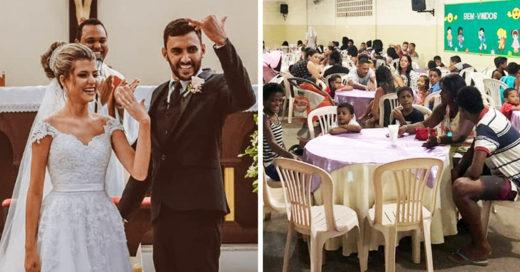 Celebran su matrimonio con una cena junto a 160 personas necesitadas