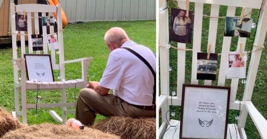 Abuelo come solo junto al memorial de su esposa fallecida, en la boda de su nieta