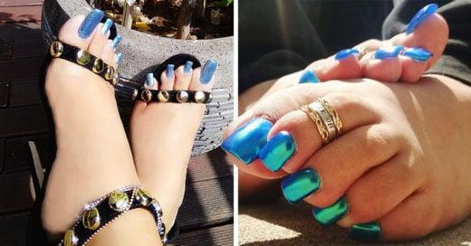 Las uñas largas de acrílico en los pies están oficialmente de moda