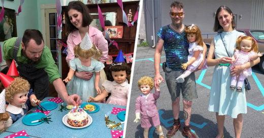 Pareja vive con 200 muñecos como una familia feliz
