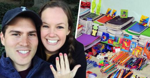 Útiles escolares en vez de regalos de boda es todo lo que esta pareja pidió