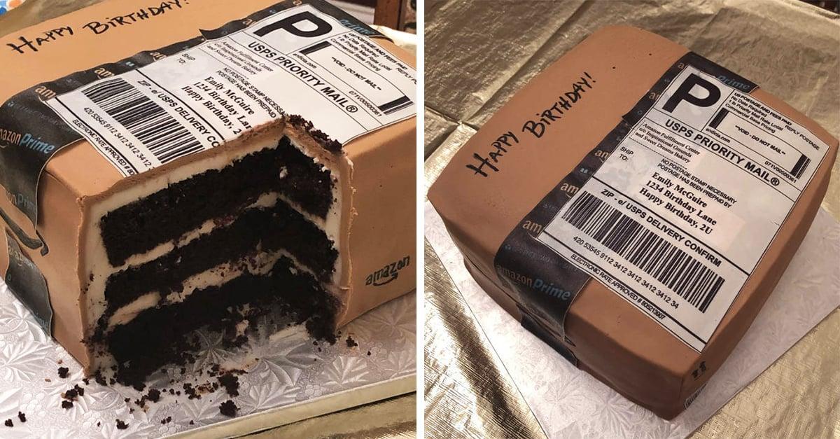 Su esposo le regaló un pastel especial para su cumpleaños ¡tenía forma de caja de Amazon!