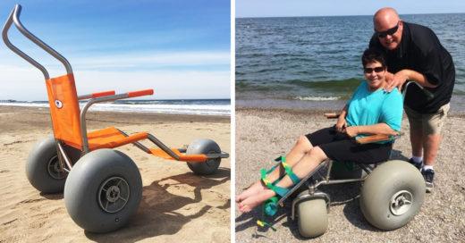Esta playa tiene sillas de ruedas especiales para los visitantes que no pueden caminar