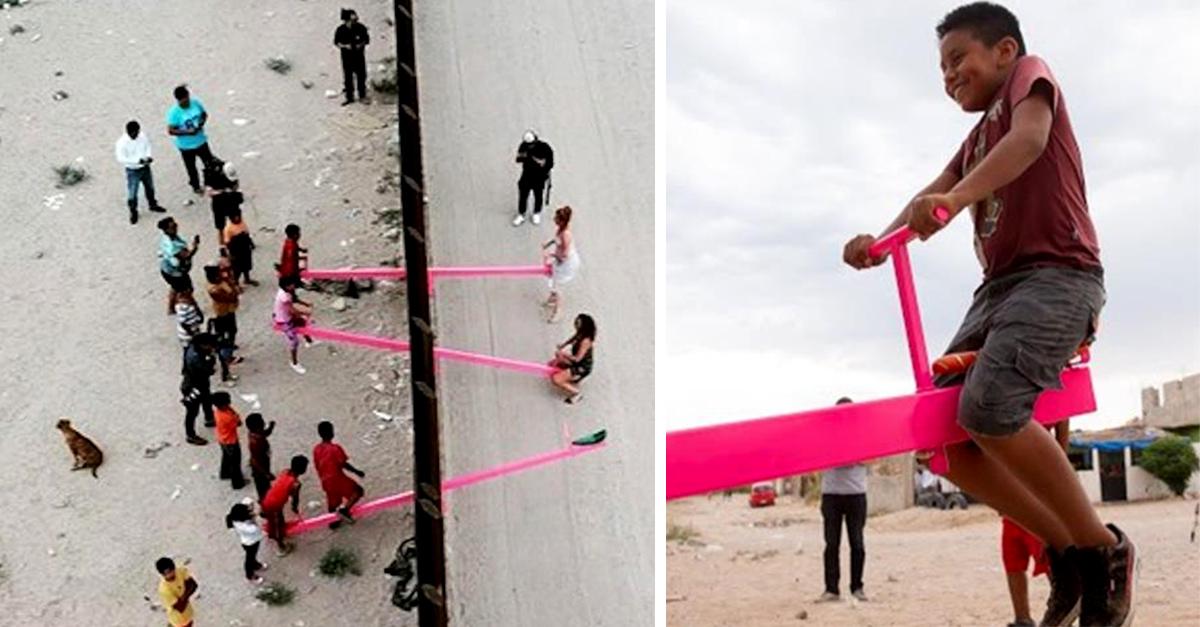 Maestros de California diseñan sube y baja apoyado en la valla fronteriza entre México y los Estados Unidos