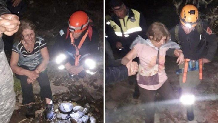 Monica y Claudia López siendo rescatadas después de estar perdidas en la selva
