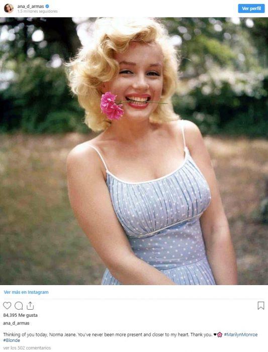 Ana de Armas publicación de imagen de Marilyn Monroe en Instagram