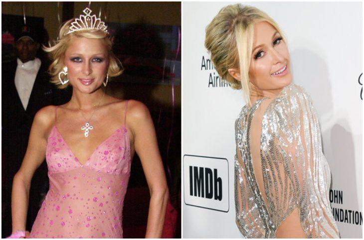 Paris Hilton a principios del 2000 y ahora