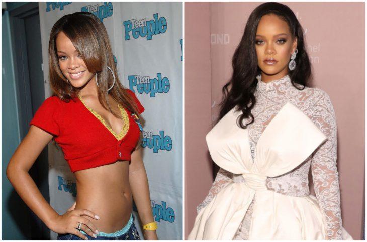 Rihanna a principios del 2000 y ahora
