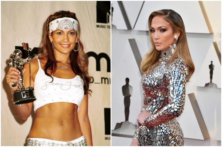 Jennifer Lopez a principios del 2000 y ahora