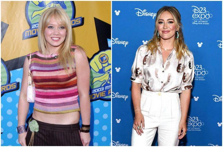 Hilary Duff a principios del 2000 y ahora
