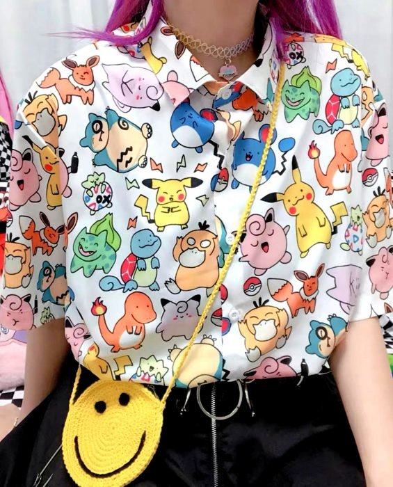 Blusas con estampados bonitos y kawaii; camisa de pokemon
