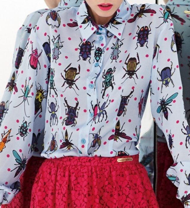 Blusas con estampados bonitos y kawaii; camisa con insectos