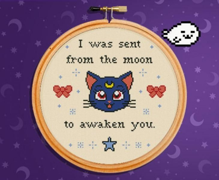 Bordado de Sailor Moon; gata Luna