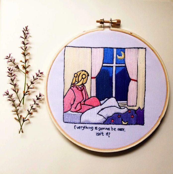 Bordado de Sailor Moon; Serena mirando la luna por la ventana