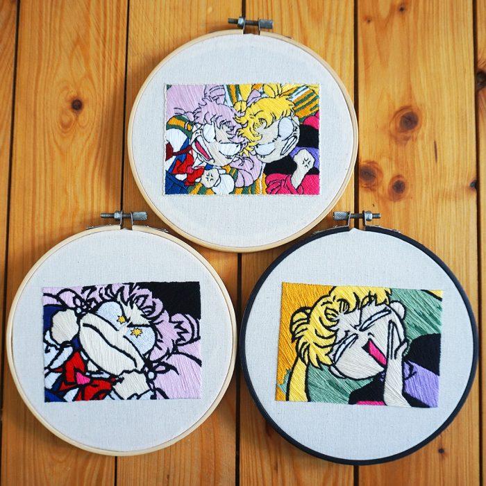 Bordado de Sailor Moon; Serena y Chibimoon peleando