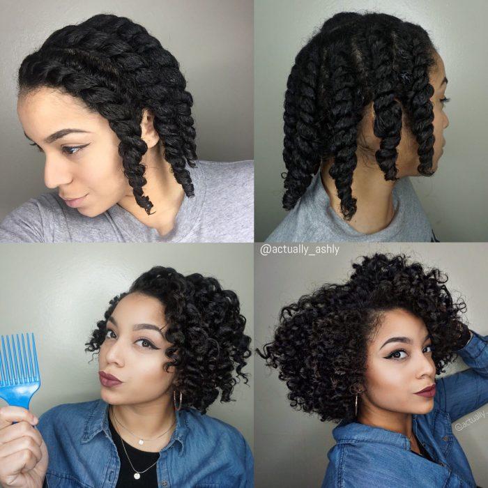 Peinado para chica afroamericana, rizos sin calor
