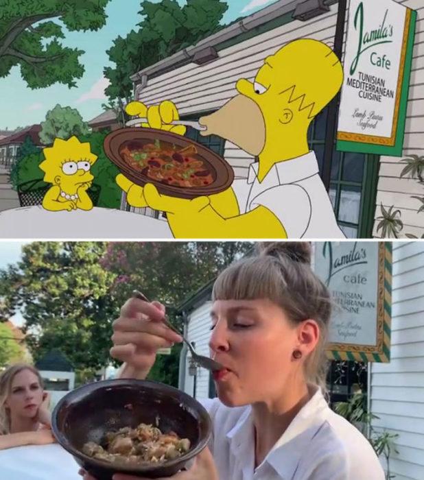 Chica comiendo un plato de albóndigas para recrear una escena de la serie Los Simpsons