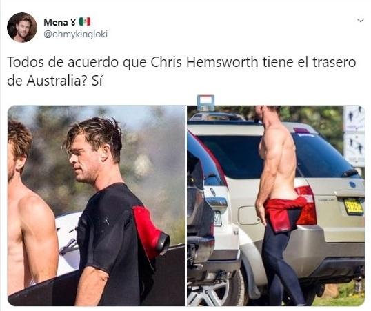 Tuit sobre Liam y Chris Hemsworth surfeando en Australia