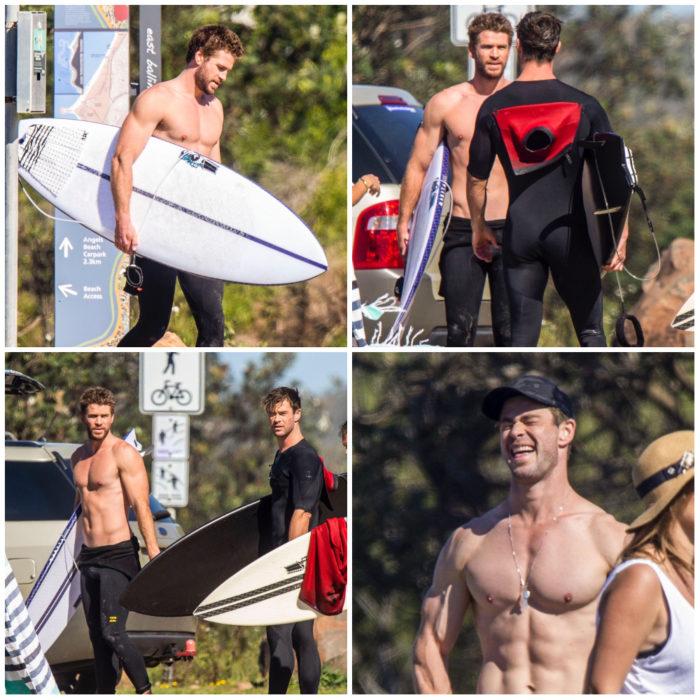 Liam y Chris Hemsworth usando trajes para surfear en Australia