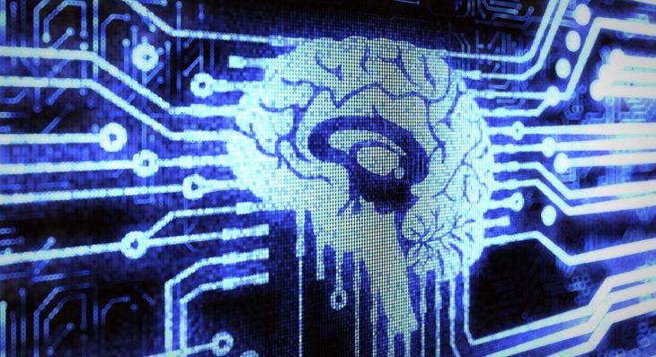 Imagen de un monitor con un cerebro y las señales que emite