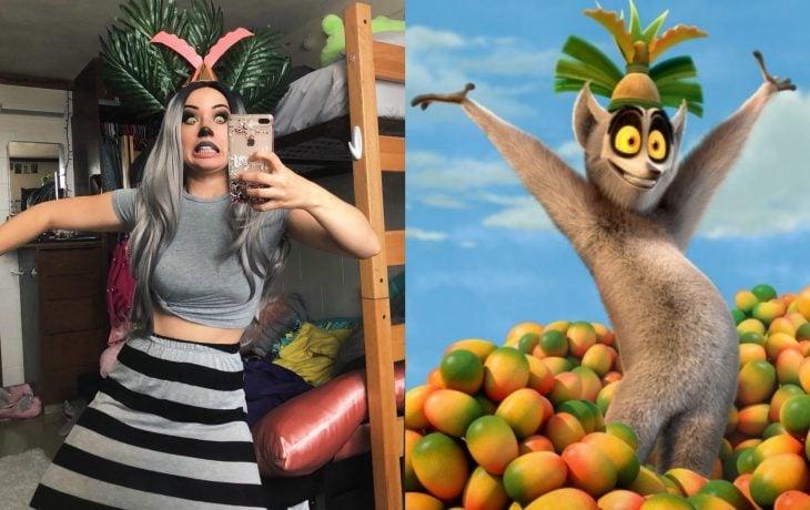 Mira Park hace divertidos cosplays; disfraz de Rey Julien de Madagascar