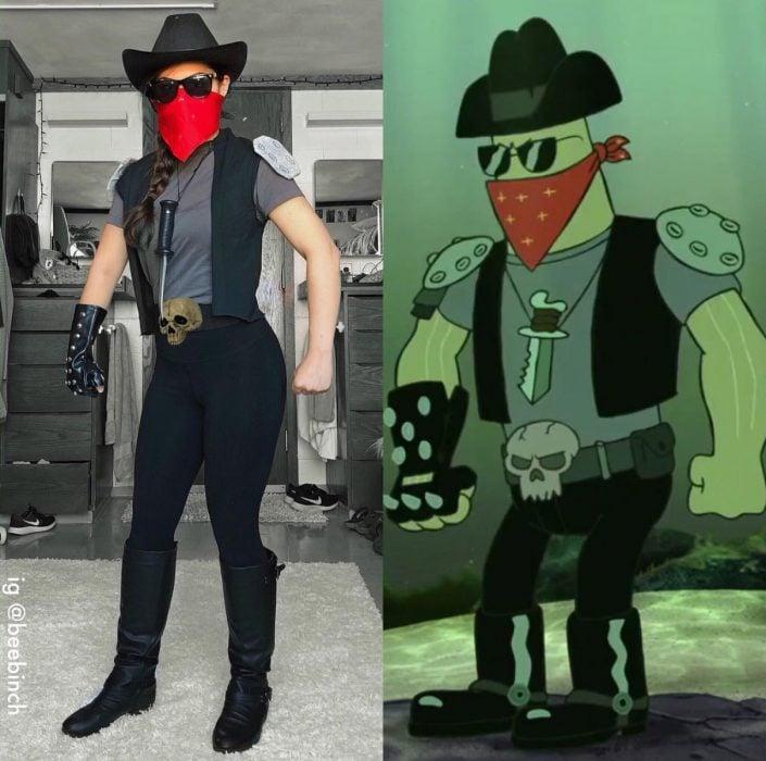 Mira Park hace divertidos cosplays; disfraz de Dennis de Bob Esponja, vaquero rudo