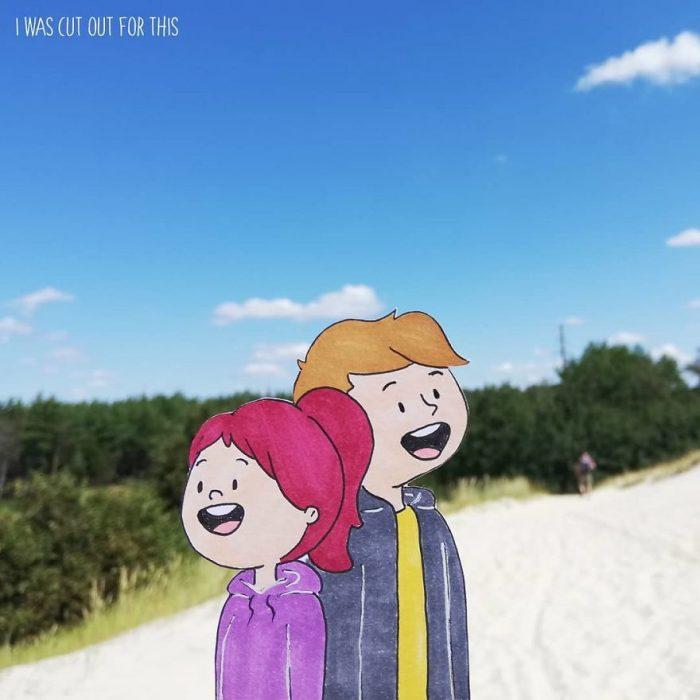 Ilustraciones de Ana Stretcu durante sus vacaciones, junto a su novio asombrados viendo el paisaje