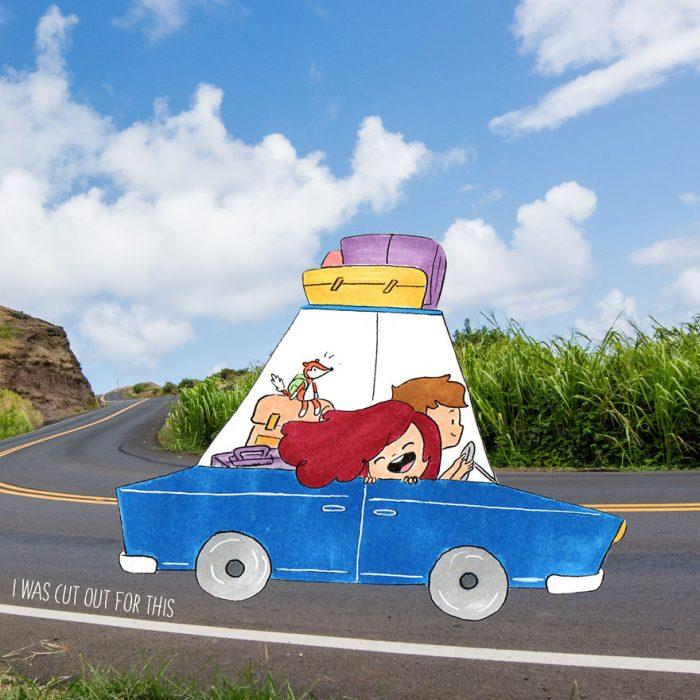 Ilustraciones de Ana Stretcu durante sus vacaciones, junto a su pareja viajando en coche