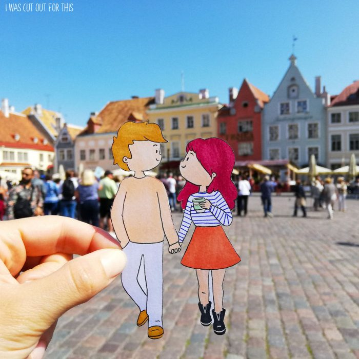 Ilustraciones de Ana Stretcu durante sus vacaciones, caminando tomada de la junto a su novio