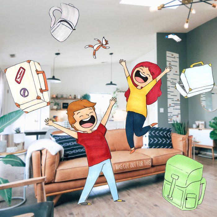 Ilustraciones de Ana Stretcu durante sus vacaciones, junto a su novio festejando su final de viaje