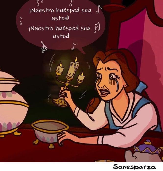 Santiago Esparza ilustra escenas de Disney realistas; La Bella y la Bestia