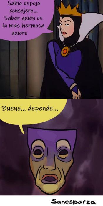 Santiago Esparza ilustra escenas de Disney realistas; Blancanieves, la madrastra y el espejo