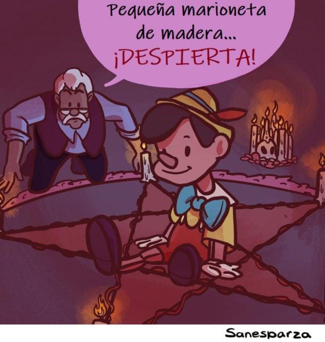 Santiago Esparza ilustra escenas de Disney realistas; Pinocho