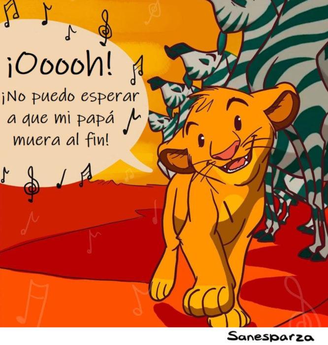 Santiago Esparza ilustra escenas de Disney realistas; El rey león, Simba