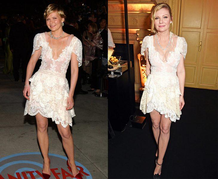 Kirsten Dunst usando un vestido blanco en dos eventos diferentes