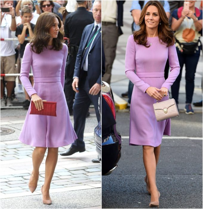 Kate Middleton usando un vestido de color lila dos veces en diferentes eventos