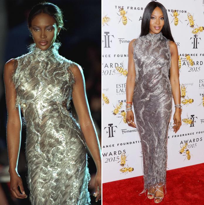 Naomi Cmpbell usando un vestido gris de Versace en dos eventos diferentes