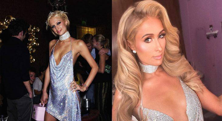 Paris Hilton usando un vestido de brillantes en dos ocasiones diferentes
