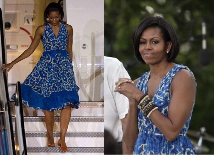 Michelle Obama bajando de un avión con un vestido de color azul y nuevamente en un evento de la casa blanca