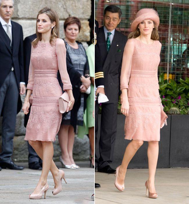 Letizia de España usando el mismo vestido de color rosa