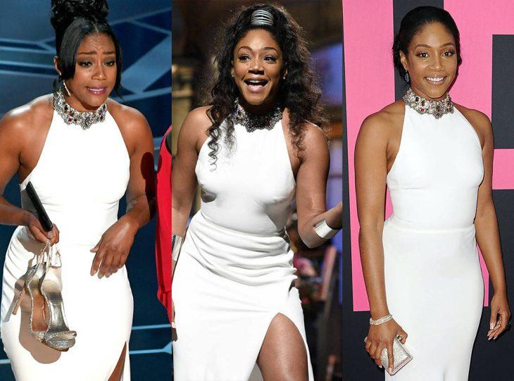 Tiffany Haddishusando el mismo vestido blanco en diferentes ocasiones